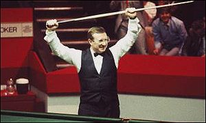 Dennis Taylor celebrates his titanic defeat over Steve Davis in 1985