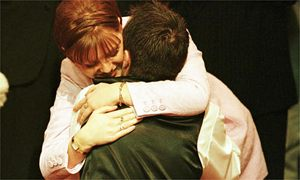 John Higgins celebrates with his wife after beating Ken Doherty in 1998