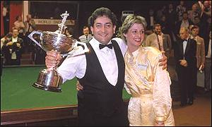 Joe Johnson celebrates his 1986 win over Steve Davis with his wife