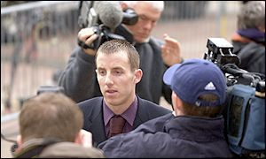 Lee Bowyer leaves court after the trial is halted