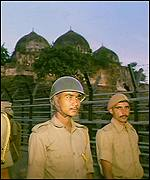 Indian soldiers guard Babri mosque