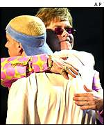 Elton John, Eminem at the 2001 Grammys