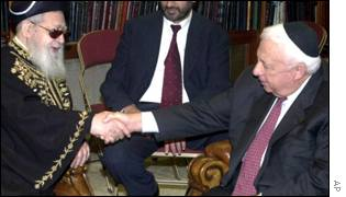 Shas spiritual leader meets PM Ariel Sharon