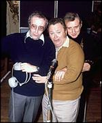 Sir Harry pictured with Peter Sellers (L) and Spike Milligan [R]