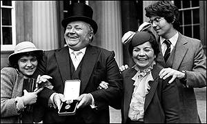 Sir Harry with his daughter Katy, wife Myra and son David when he was knighted in 1981