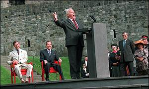 Sir Harry welcomed The Prince of Wales to Caernarvon Castle in 1974