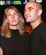 Steffi Graf with her partner, US tennis star Andre Agassi