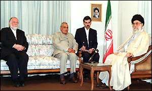 Atal Behari Vajpayee (second left) with Ali Khamanei