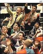 Traders on the first day of euro trading