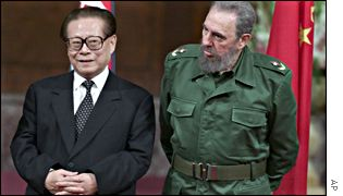 China's President Jiang Zemin and Cuban President Fidel Castro