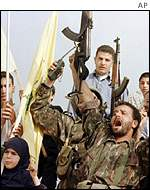 Hezbollah celebrate Israel's withdrawal in May 2000