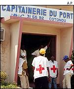 Medics waiting for ship to turn up in Cotonou, Benin