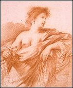 Fine red chalk drawing of Cleopatra by Guercino (late 1630s)