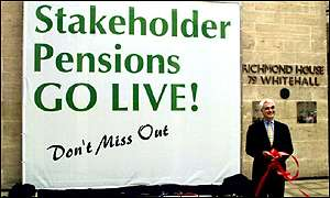 Alistair Darling, Social Security Secretary, launches a stakeholder pensions poster this month