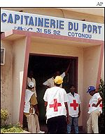Emergency medical services staff on hand in Cotonou Benin for the arrival of the alleged slave ship