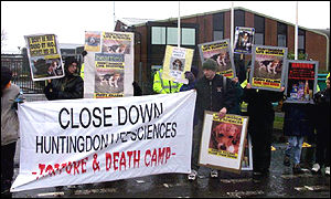 Protesters at Huntingdon Life Sciences animal lab