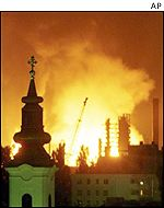 Oil refinery burns in Novi Sad