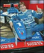 Damon Hill with car for the 1997 season