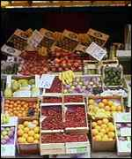 Apples on fruit stall BBC