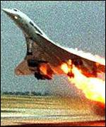 Concorde on fire, seconds before crashing