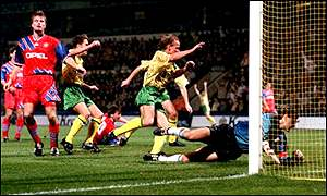 Jeremy Goss scores for Norwich against Bayern Munich