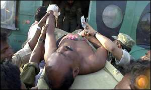 Injured Bangladesh soldier is airlifted to safety