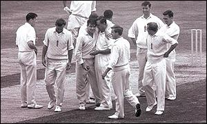 Fred Trueman is congratulated by team-mates, The Oval, August 1964