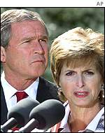 President Bush and Environment administrator Christie Whitman