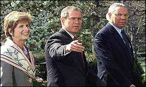 Left to right: EPA Administrator Christie Whitman, President Bush and Secretary of State Colin Powell
