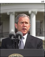 President Bush makes his statement