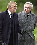 Bruce Forsyth (L) and Jimmy Tarbuck were among the mourners