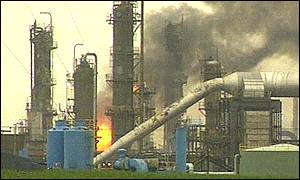 An explosion shuts down the Conoco oil refinery in England, causing a jump in world oil prices