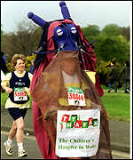 A runner in fancy dress raising money for The Childrens Hospice in Wales