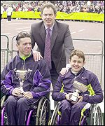 Dennis Lemeunir and Tanni Grey-Thompson pose with Prime Minister Tony Blair