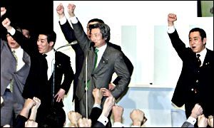 Junichiro Koizumi and top party leaders raise fists to celebrate victory
