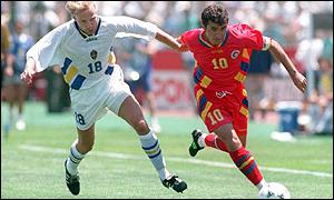 Hakan Mild and Gheorghe Hagi, Sweden v Romania, 1994 World Cup Finals