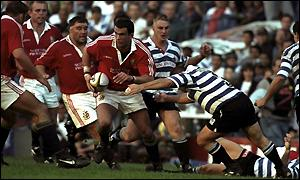 Martin Johnson in action for the Lions in 1997