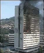 Burning Sarajevo tower block