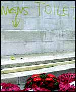 Cenotaph with graffiti