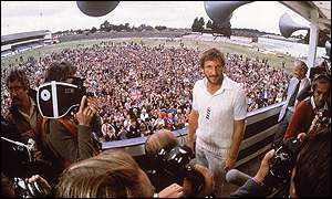 Not surprisingly Botham is the centre of attention after helping England to victory