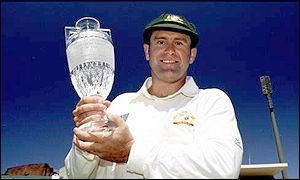 Mark Taylor holds aloft the Ashes trophy once again