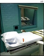 A bed within a death chamber