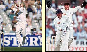 England gain their first sight of Shane Warne and his first ball bowls Mike Gatting