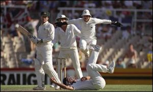 Alec Stewart claims the catch of Steve Waugh but the third Test ends in a draw