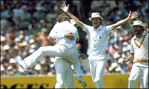 Substitute Ian Gould came on to catch Greg Chappell off the bowling of Norman Cowans