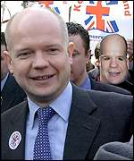 William Hague being jostled by protesters in Pudsey