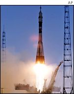 Soyuz rocket blasting off