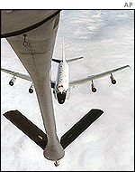 An RC-135 U.S. Air Force reconnaissance jet refuelling