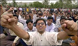 Activists shout slogans outside the high court in Bangladesh