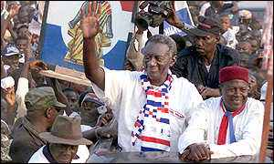 President John Kufuor at a victory rally